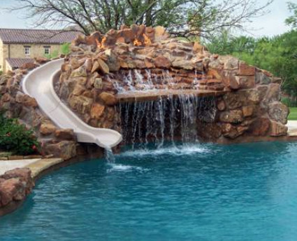 Swimming pool slide pool slides swimming safety pool for Swimming pools with slides and waterfalls