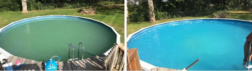 green pool water, algae pool water, clear up green pool, swimming pool care