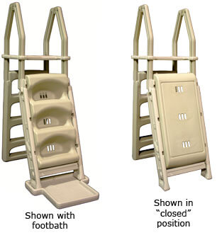 Whether you are looking for above ground swimming pool ladders or steps, the choice is clear:  You gotta get something