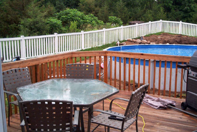 above ground pool deck, how to build a deck, free landscaping ideas